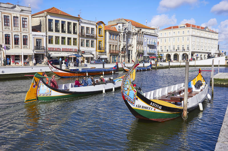 AVEIRO, PORTUGAL - MARCH 21, 2017: The Vouga river. With traditional boats, Called Moliceiro, Aveiro, Portugal on March 21, 2017 stock photo