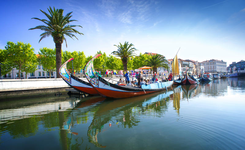 Aveiro, Portugal. The panorama of Aveiro city and canal with boats stock image