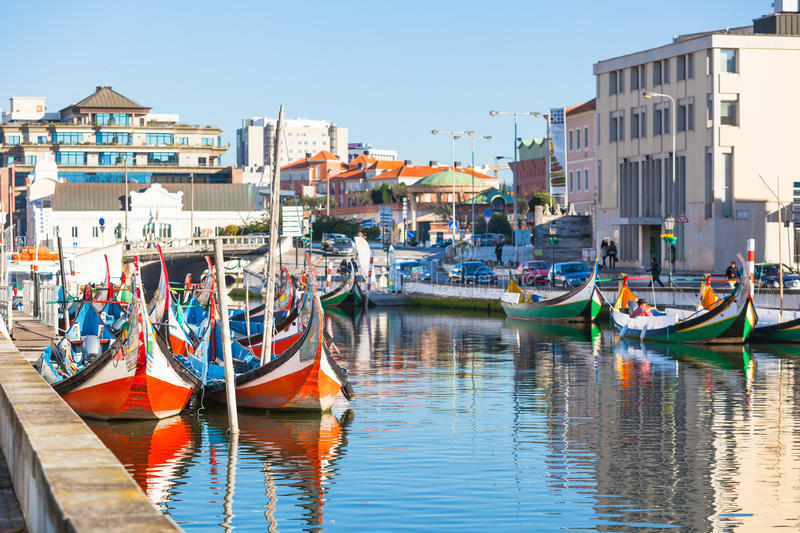Aveiro, Portugal view. Bright Painted Gondolas at canal stock image