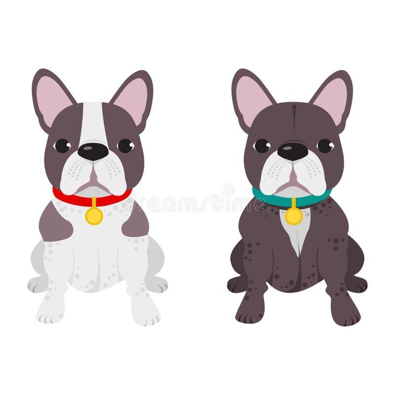 Avel för fransk bulldogg för inhemsk hund på den vita bakgrunden royaltyfri illustrationer