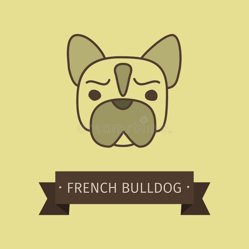Avelhund för fransk bulldogg för logo stock illustrationer