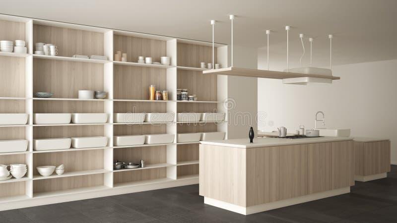 Avellanador blanco y de madera costoso de lujo minimalista de la cocina, de la isla, del fregadero y del gas, espacio abierto, pi ilustración del vector