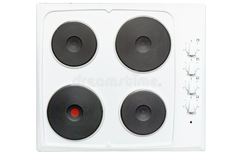 Avellanador, cuatro hornillas eléctricas hechas del metal Visión desde arriba Aislado en el fondo blanco fotos de archivo