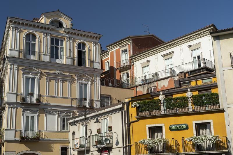 Avellino, Italy: buildings. Avellino, Irpinia, Campania, Italy: typical buildings in a sunny summer afternoon stock image