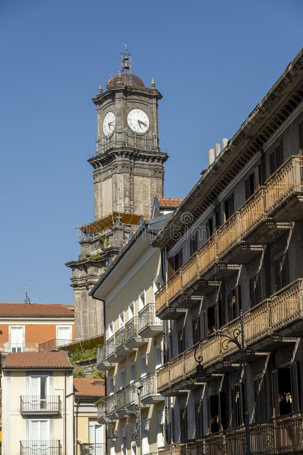 Avellino, Italy: buildings. Avellino, Irpinia, Campania, Italy: typical buildings in a sunny summer afternoon stock photos