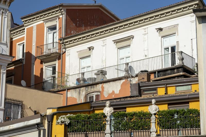 Avellino, Italy: buildings. Avellino, Irpinia, Campania, Italy: typical buildings in a sunny summer afternoon stock photo