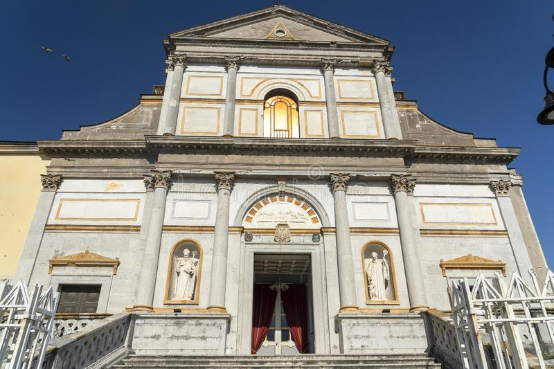 Avellino, Italy: cathedral facade. Avellino, Irpinia, Campania, Italy: the cathedral facade in a sunny summer afternoon stock photo