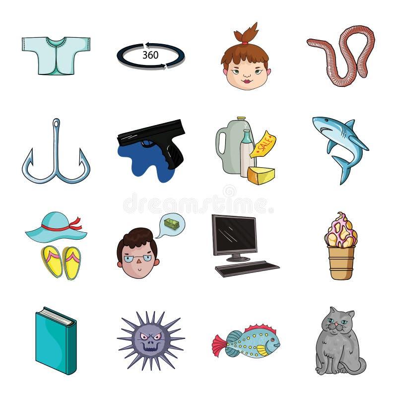 Aveln, katten, fiske och annan rengöringsduksymbol i tecknad film utformar Lopp djur, semestersymboler i uppsättningsamling stock illustrationer
