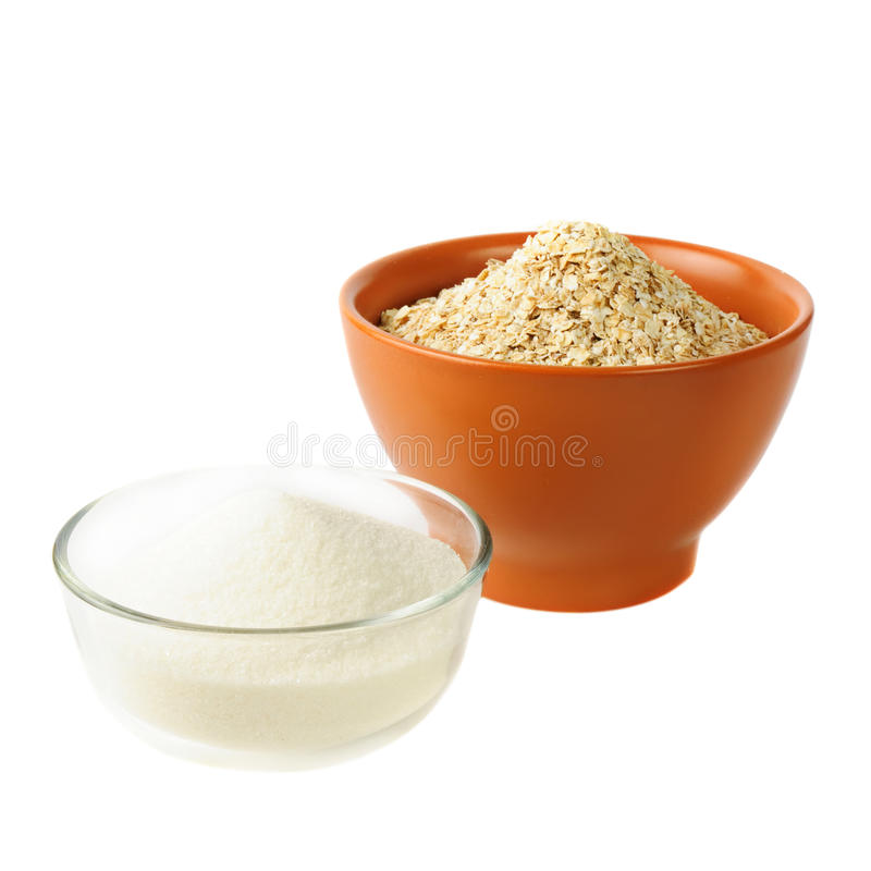Avena y azúcar: alimentos del carbohidrato fotografía de archivo libre de regalías