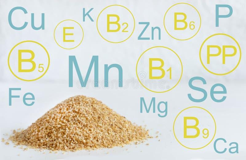 Avenas mondadas del trigo Infographic con las vitaminas y los minerales en cereales del trigo Ejemplo para un blog con una comida libre illustration