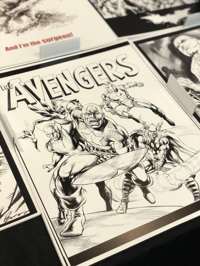 Avengers Comic Print stockbild
