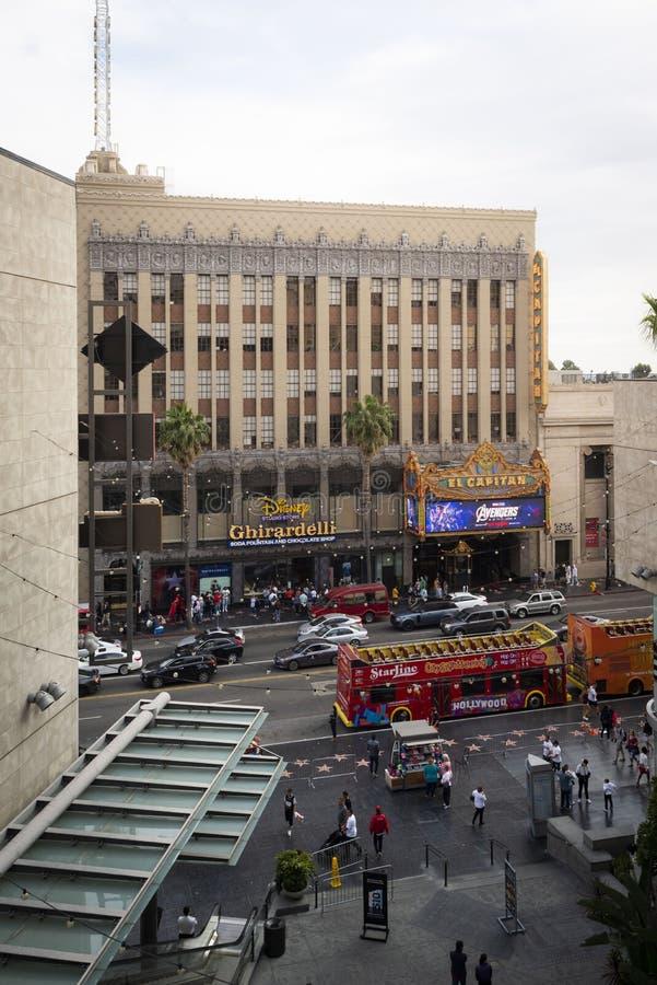 Apr 28, 2019 - Los Angeles, California, USA: Avengers Endgame billboard outside El Capitan Theatre, Hollywood, California stock photo