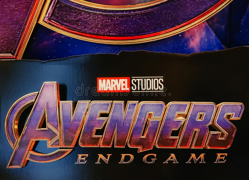 Avengers Endgame poster displayed; The Avengers, is a American superhero film based on the Marvel Comics superhero team royalty free stock photography