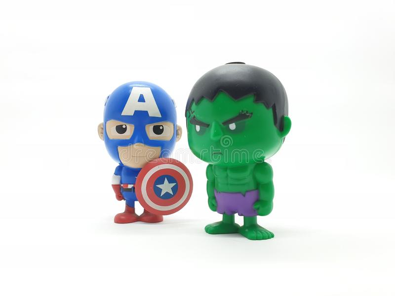 Avengers Hulk Spiderman Captain America Plastic from Movie Toys Model in White Isolated Background. For Kids and Families Hobby Leisure animation art artist stock photography