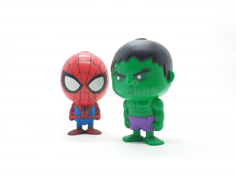 Avengers Hulk Spiderman Captain America Plastic from Movie Toys Model in White Isolated Background. For Kids and Families Hobby Leisure animation art artist royalty free stock images