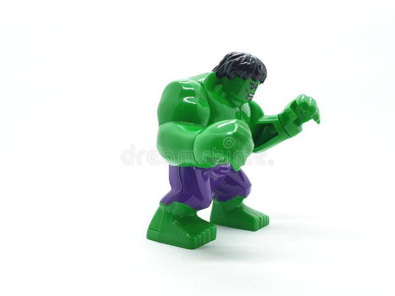 Avengers Hulk Spiderman Captain America Plastic from Movie Toys Model in White Isolated Background. For Kids and Families Hobby Leisure animation art artist royalty free stock photo