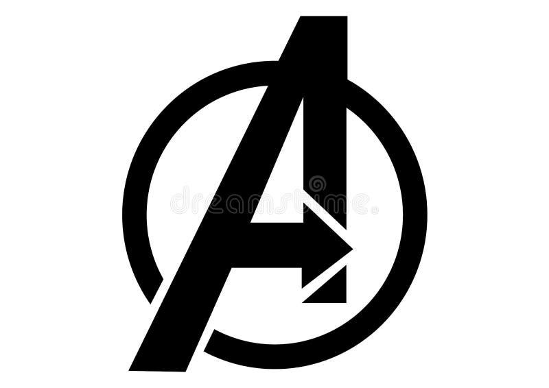 The Avengers logo, bohater ilustracja wektor