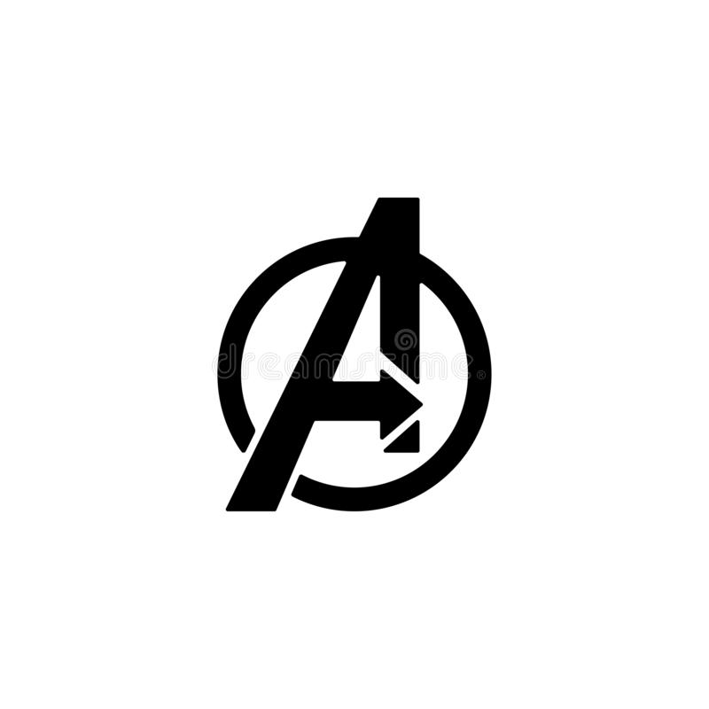 Avengers Logo isolated vector icon symbol clipart. Avengers Logo isolated vector icon, symbol avengers end game, endgame, thanos, abstract, clipart, black royalty free illustration