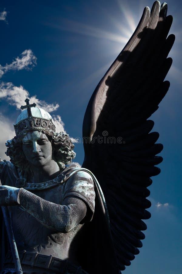 Avenging angel backlightning royalty free stock photo