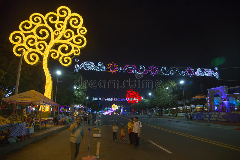 Avenida Bolivar view at night with life`s trees from Nicaragua royalty free stock photography