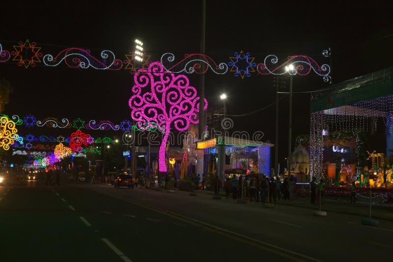 Avenida bolivara widok przy nocą z żyć drzewami od Nikaragua obrazy stock