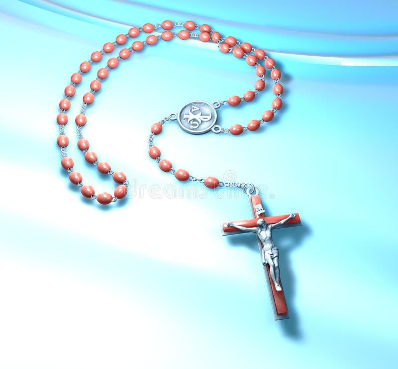 avenida católica Marias del rosario del rezo del ejemplo 3D en fondo gris stock de ilustración