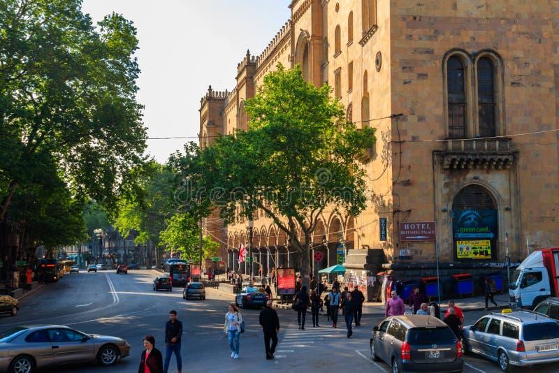 Avenida central de Shota Rustaveli de Tbilisi, Georgia imágenes de archivo libres de regalías