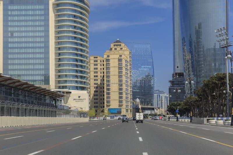 Avenida Central em Baku, num dia ensolarado imagem de stock