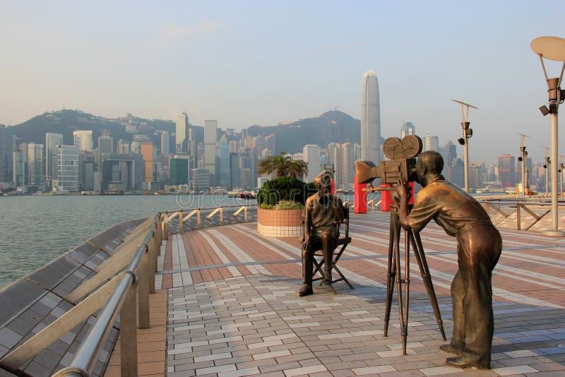 Avenida das estrelas, modelada na caminhada de Hollywood da fama, em Tsim imagem de stock