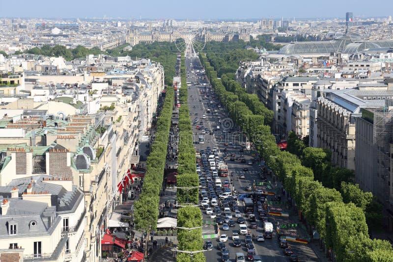 Avenida de Champs-Elysees em Paris, França fotografia de stock