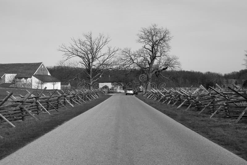 Avenida de Estados Unidos del campo de batalla de Gettysburg imagenes de archivo