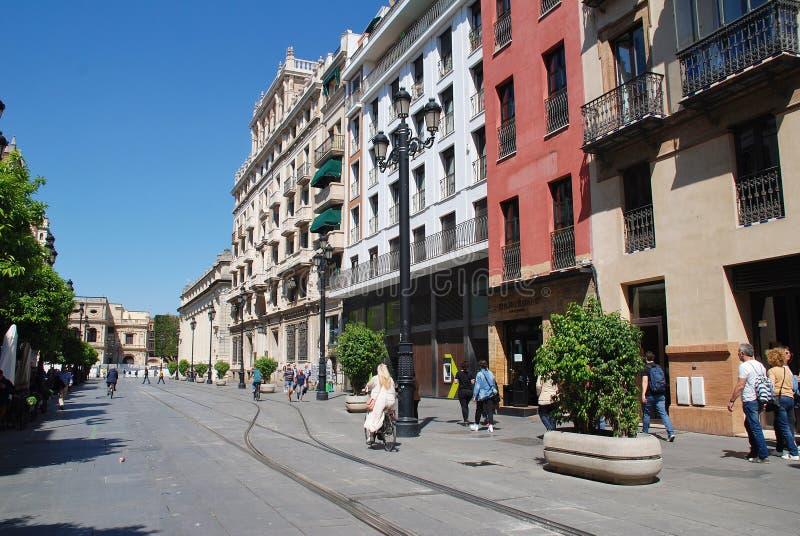 Avenida de la Constitucion, Seville royalty free stock photos