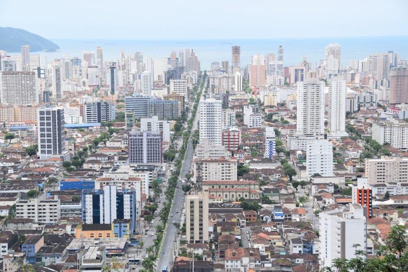 Avenida de la costa de la anecdotario en Santos Brasil fotografía de archivo libre de regalías