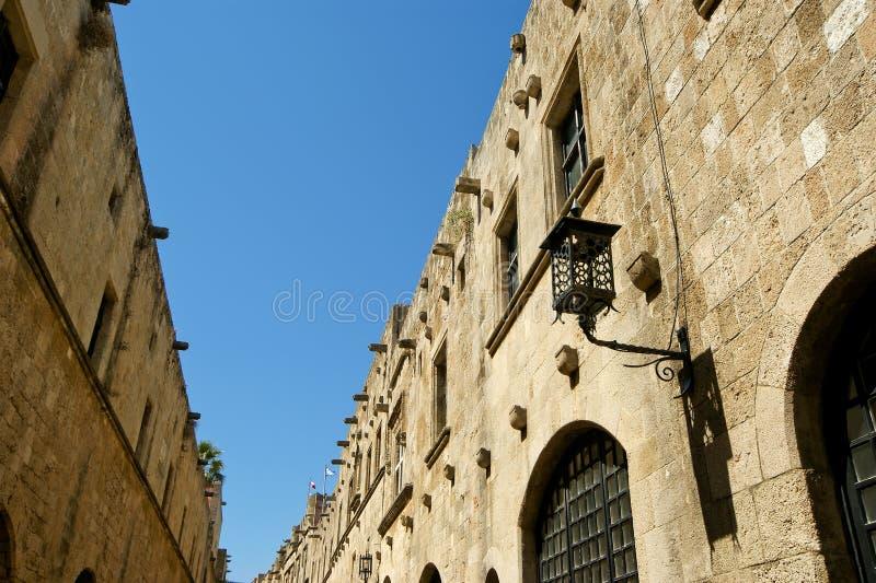 Avenida medieval dos cavaleiros, o Rodes, Grécia foto de stock