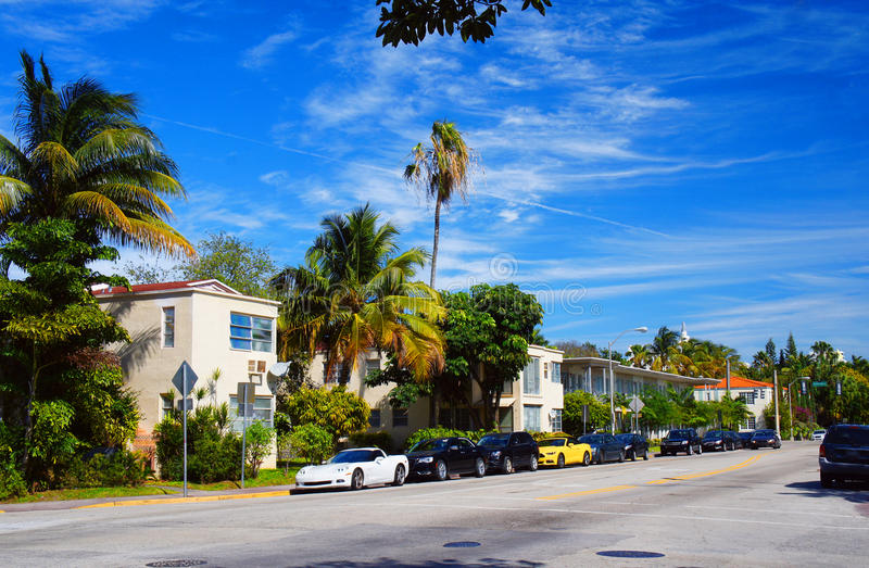 Avenida meridiana de Miami Beach foto de stock