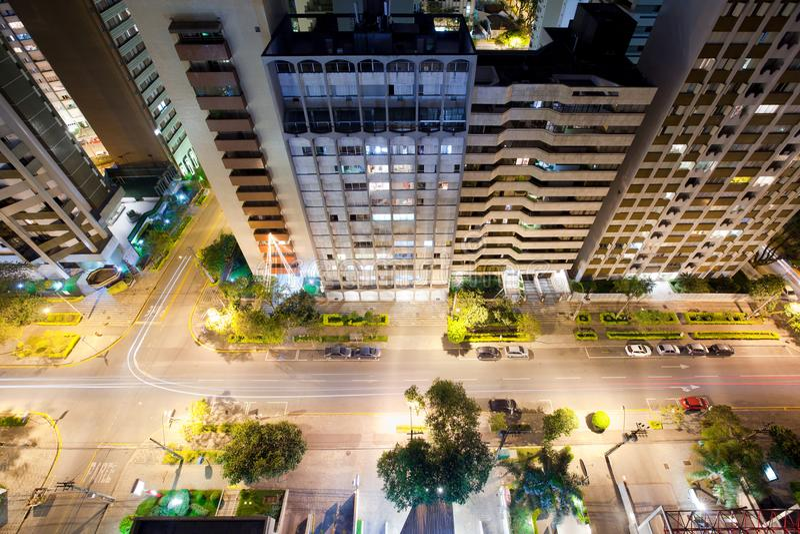 Avenida Sete de setembro de cima de, Parana, Curitiba imagem de stock