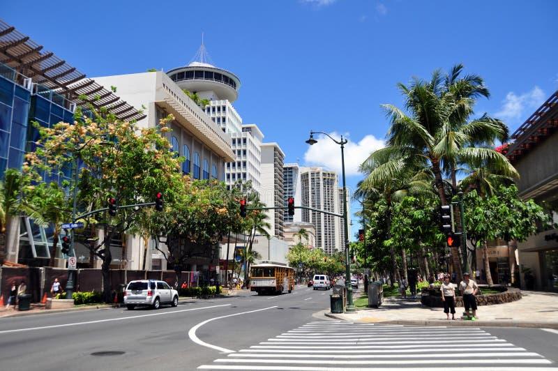 Avenida Waikiki de Kalakaua imagem de stock royalty free