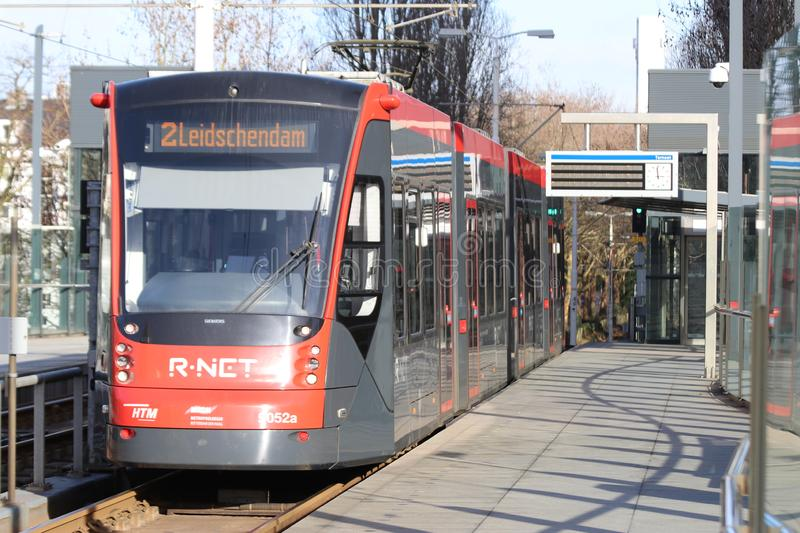 Avenio Siemens train of the HTM R-NET 5052 on line 2 at tram station Ternoot in The Hague stock images