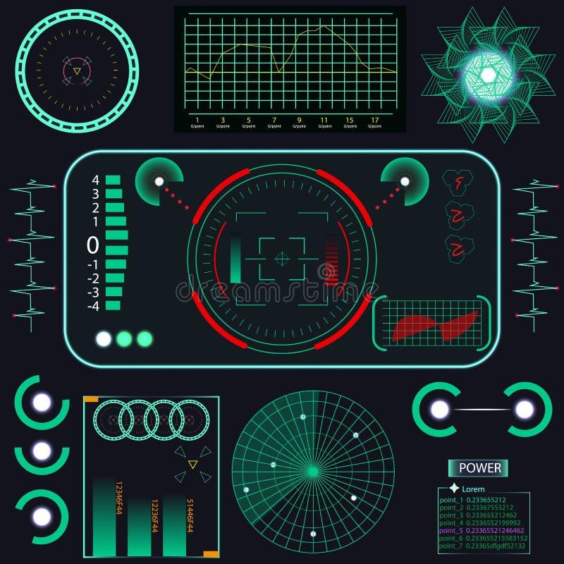 Avenir abstrait, interface utilisateurs graphique virtuelle bleue futuriste de contact de vecteur de concept HUD Pour le Web, sit illustration de vecteur