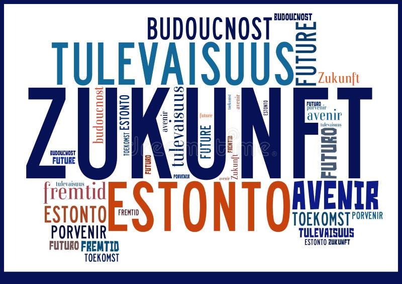 Avenir de nuage de Word dans différentes langues photographie stock