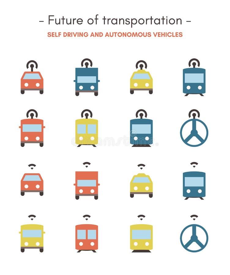 Avenir des icônes de transport - plates, pixel parfait, icônes colorées illustration de vecteur