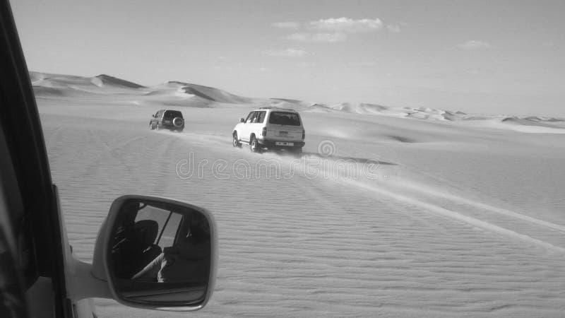 Aventúrese a través de las grandes arenas del desierto en blanco y negro imagen de archivo libre de regalías