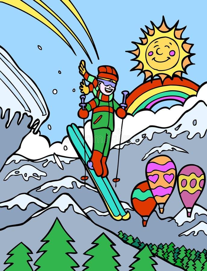 Aventura da criança: Esqui fora do penhasco ilustração do vetor