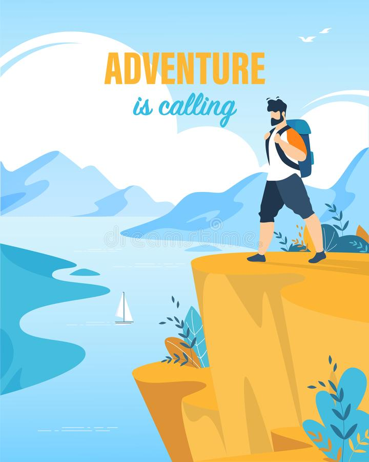 A aventura da inscrição do cartaz do turista está chamando ilustração royalty free