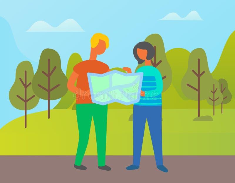 A aventura da mulher e o homem acoplam-se com atlas do mapa ilustração stock