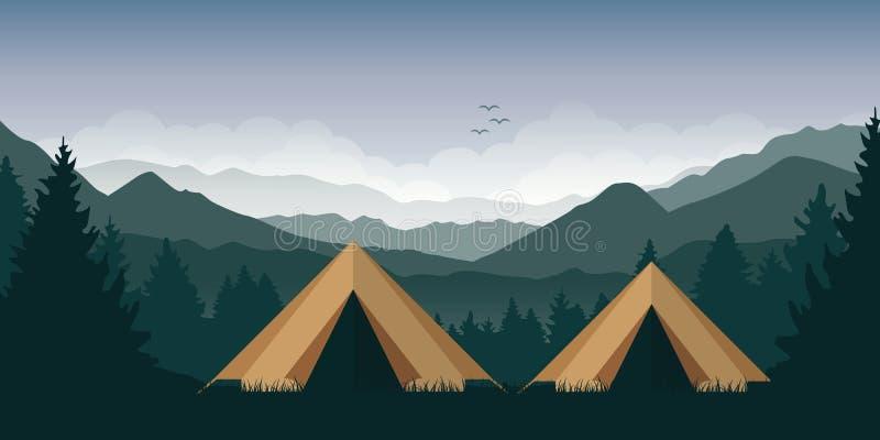 Aventura de acampamento nas barracas da região selvagem dois na floresta na paisagem verde da montanha ilustração royalty free
