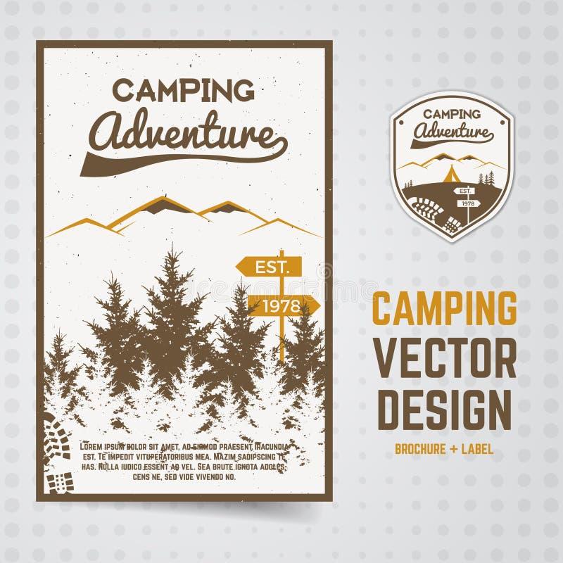 A aventura de acampamento vector o folheto e etiqueta o conceito do inseto para seu negócio, sites, apresentações ilustração stock