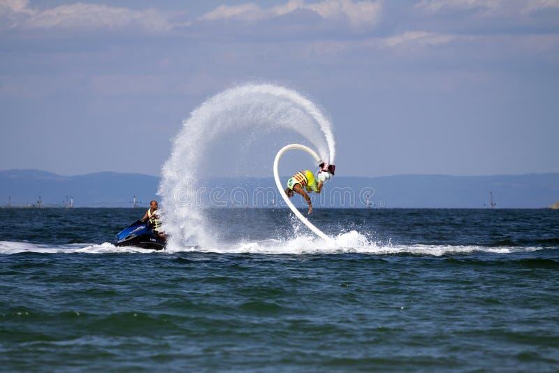 Aventura de Flyboard o Mar Negro fotografia de stock royalty free