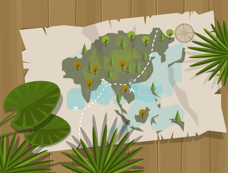 Aventura de la historieta de Asia del mapa de la selva stock de ilustración