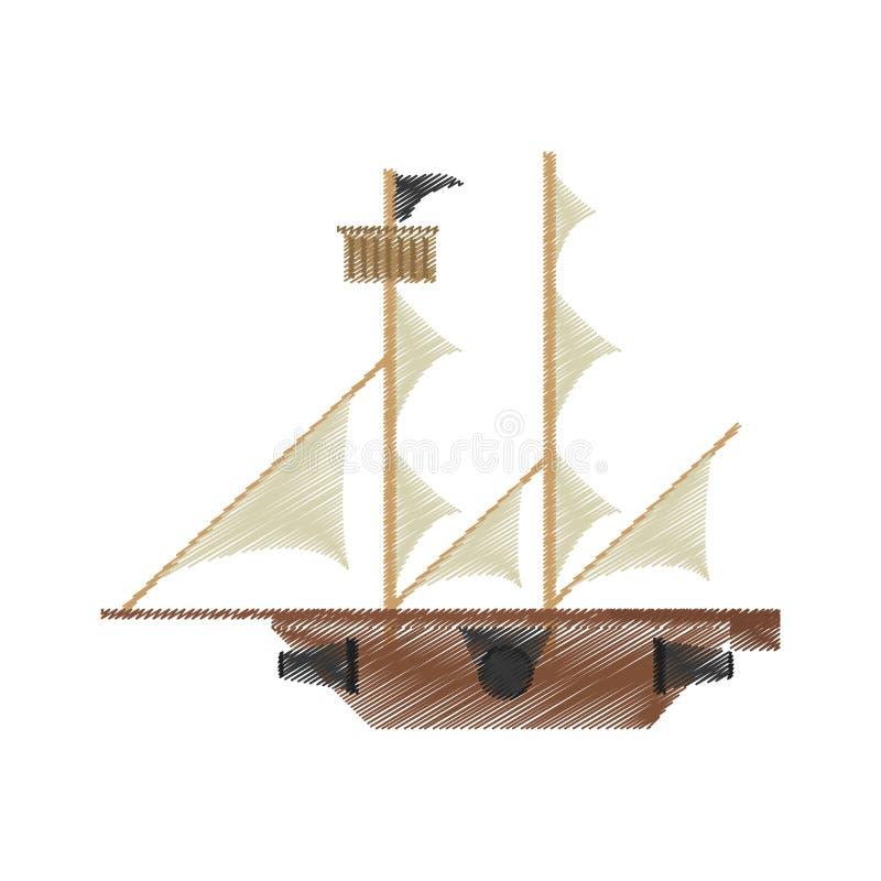Aventura De La Vela Del Barco Pirata Del Dibujo Stock de ilustración ...